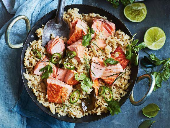 Paprika-Curry-Reis mit Lachs