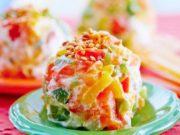 Paprika-Frischkäsebällchen