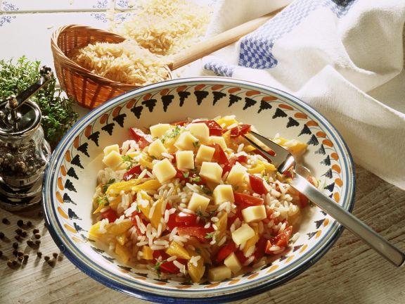 Paprika-Käsesalat mit Reis