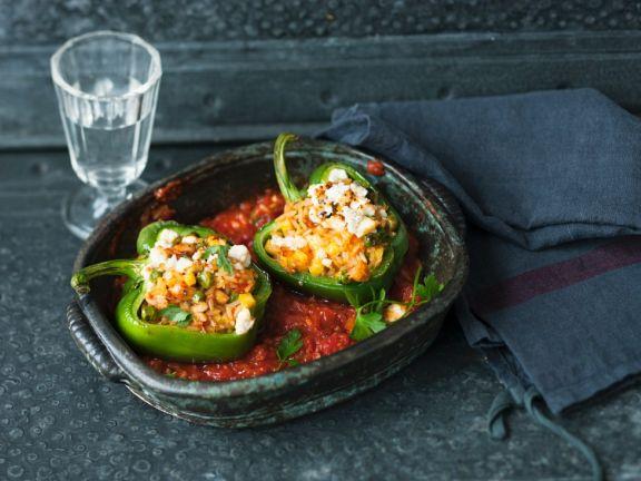 Paprika mit Ananasreis gefüllt