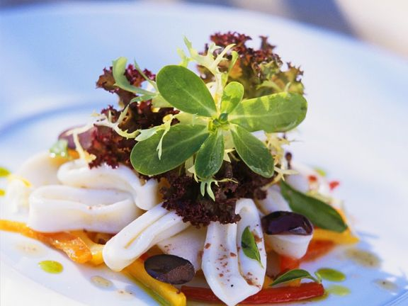 Paprika-Tintenfischsalat