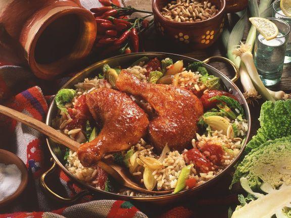 Paprikahähnchen auf Reis