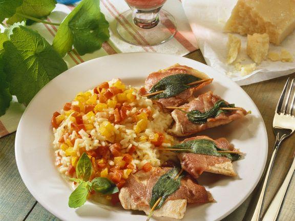 Paprikarisotto mit Saltimbocca