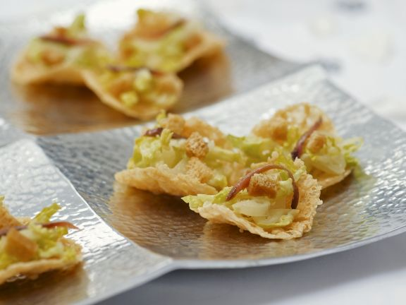 Parmesancracker mit Cesar Salat