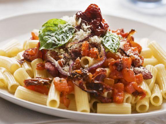Pasta mit Chorizo und Tomaten
