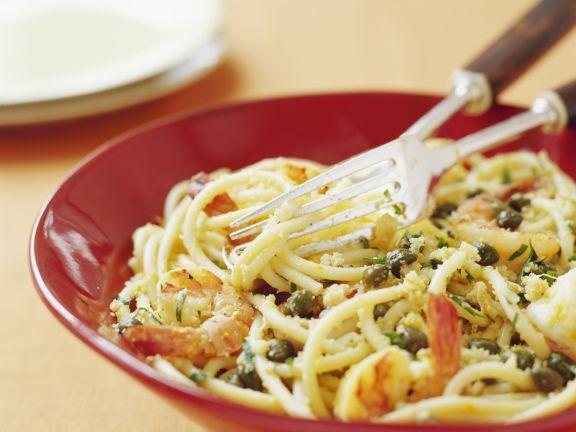 Pasta mit Garnelen und Kapern