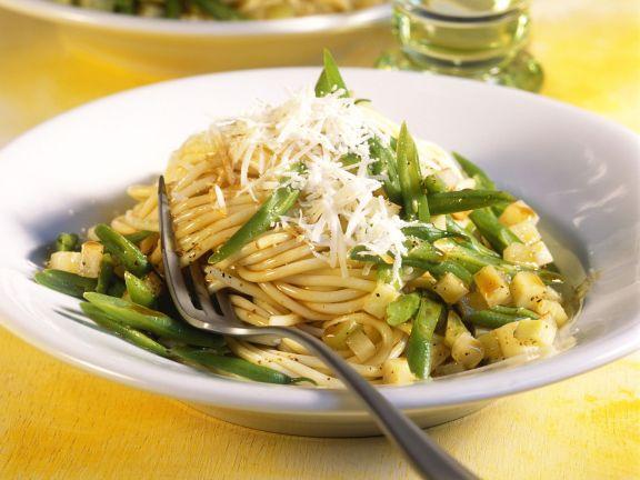 Pasta mit Kohlrabi und grünen Bohnen