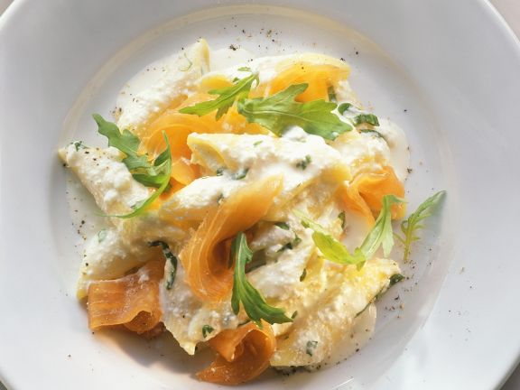 Pasta mit Lachs und Ricotta-Orangensauce