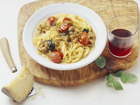 Pasta mit Safran-Lamm-Soße