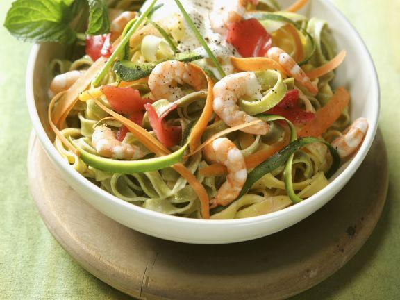 Pasta mit Scampi und Gemüse