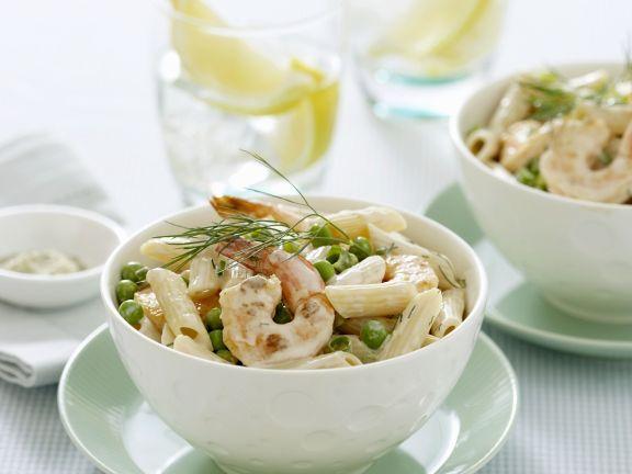 Pasta mit Shrimps und Erbsen