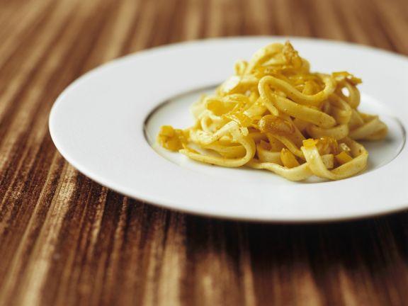 Pasta mit Stockfisch und Safransoße