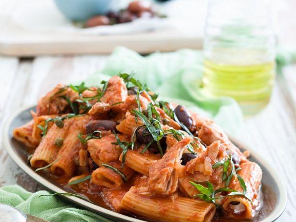 Pasta Puttanesca mit Thunfisch