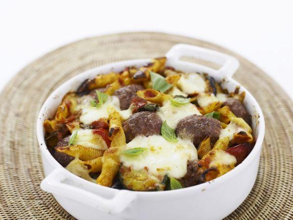 Pastagratin mit Hackklößchen und Mozzarella
