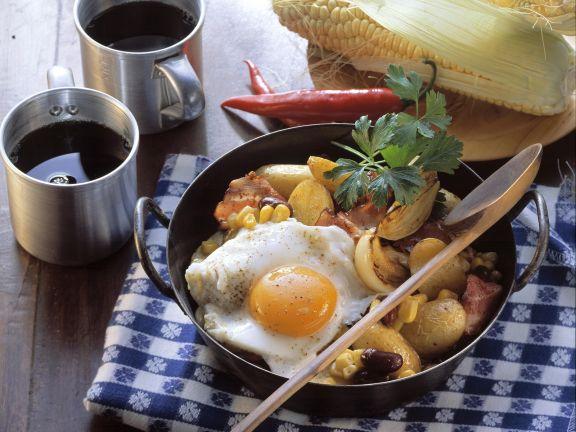 Spiegelei Richtig Braten pfannengemüse mit kartoffeln dazu spiegelei rezept eat smarter