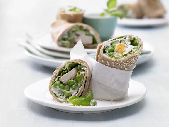 Pfannkuchen-Hähnchen-Wraps