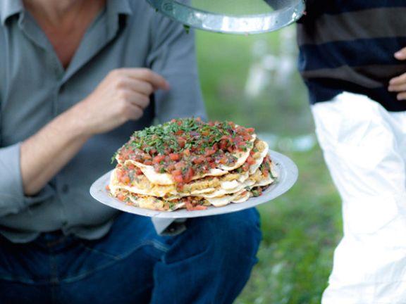 Pfannkuchen-Kichererbsen-Torte