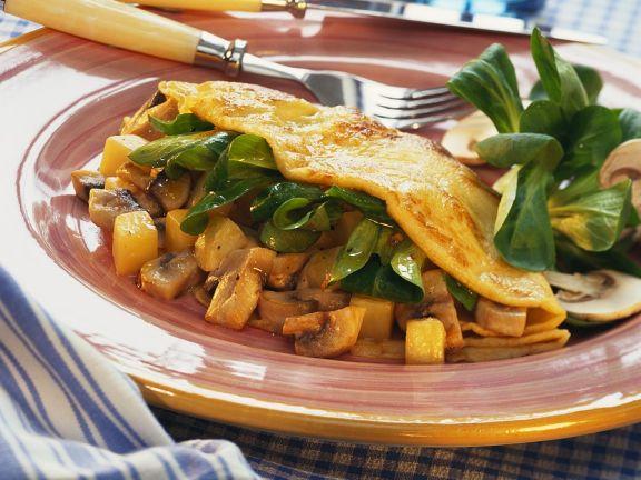 Pfannkuchen mit Kartoffeln und Pilzen
