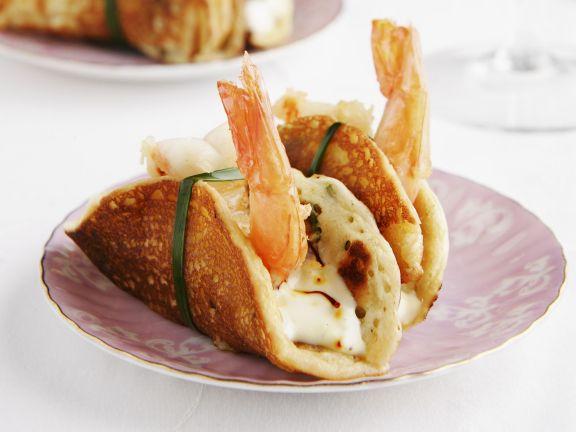 Pfannkuchen mit Shrimps und Safran-Mayonnaise