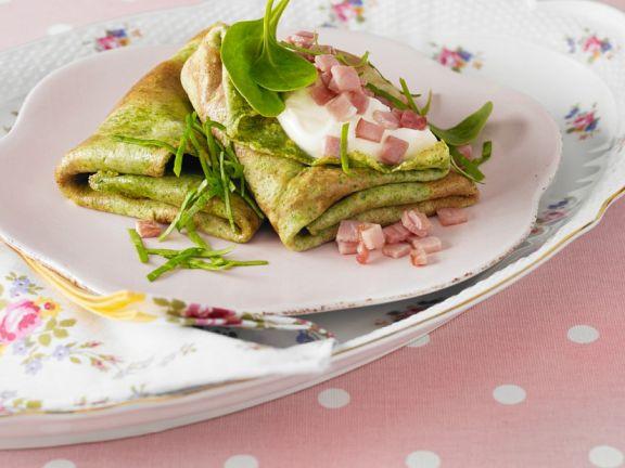 Pfannkuchen mit Spinat und Schinken