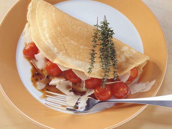 Pfannkuchen mit Tomatenfüllung