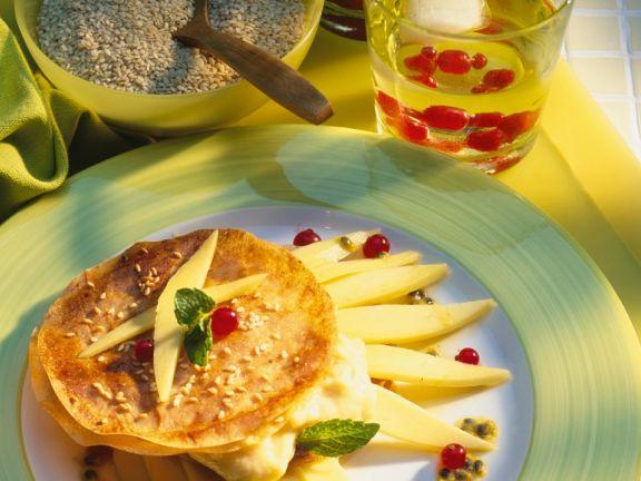 Pfannnküchlein mit Vanille-Mangocreme