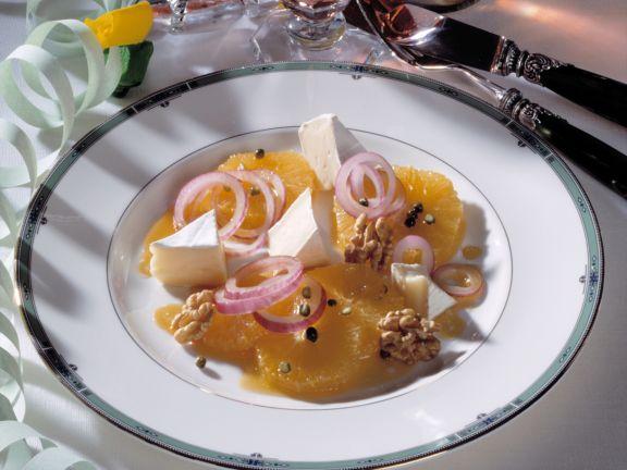 Pfeffer-Orangen und Brie mit Karamell-Vinaigrette