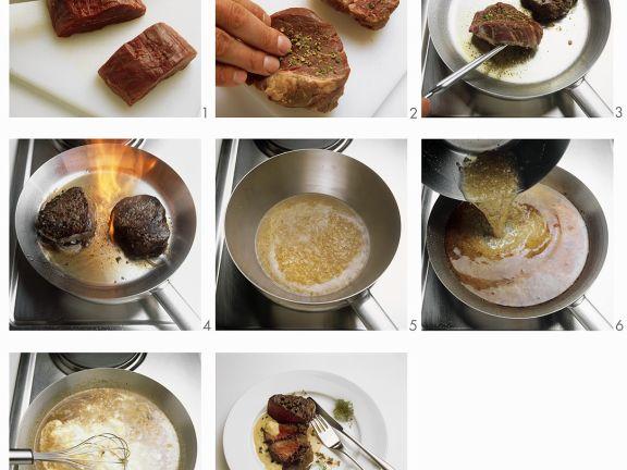 Pfeffersteaks mit Sauce
