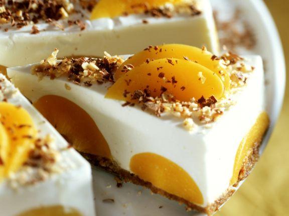 Pfirsich-Frischkäsekuchen mit Nüssen