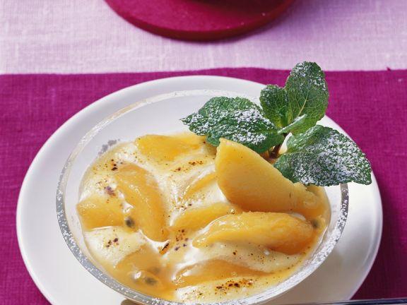Pfirsich mit Sabayon