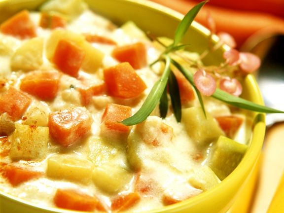 Pikante Melonensuppe mit Gemüse