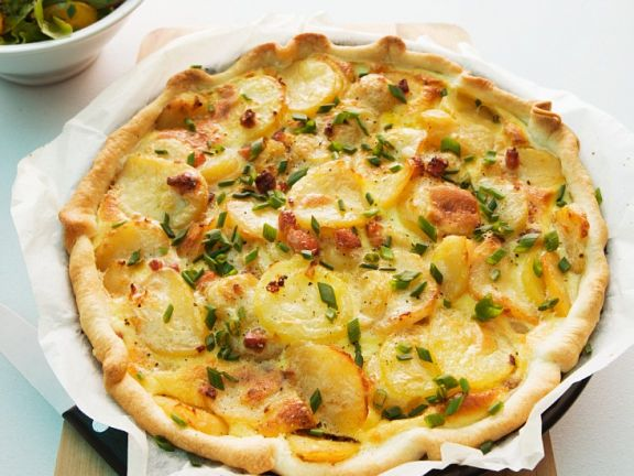 Pikanter Kartoffelkuchen mit Speck