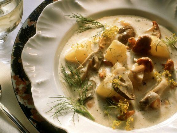 Pilz-Kartoffel-Eintopf mit Sahnesoße