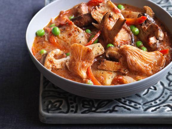 Pilz-Lamm-Curry mit Erbsen