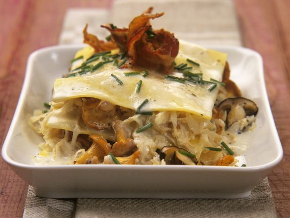 Pilz-Sauerkraut-Lasagne