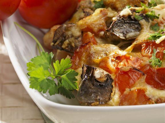 Pilz-Tomaten-Gratin