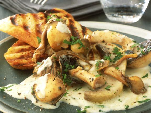 Pilze in Sahnesoße mit gegrilltem Toast