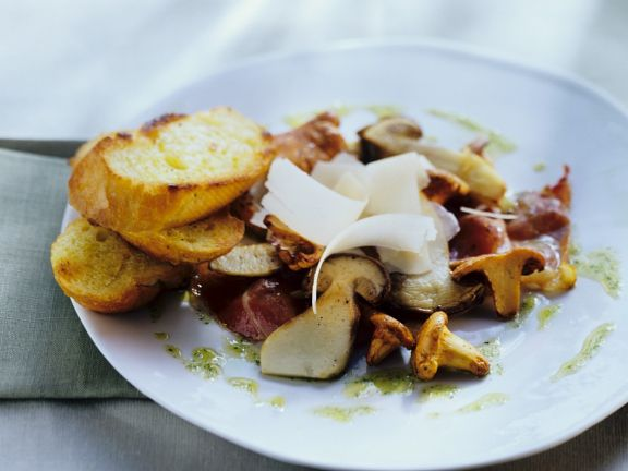 Pilzsalat mit Schinken