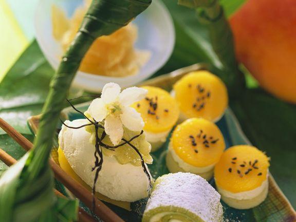 Pistazien-Marzipan-Sushi mit Frischkäse und Mango