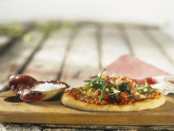 Pizza mit Krebsen