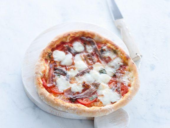 Pizza mit Mozzarellen und Sardellen