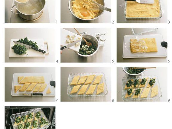 Polentaschnitten mit Spinat zubereiten