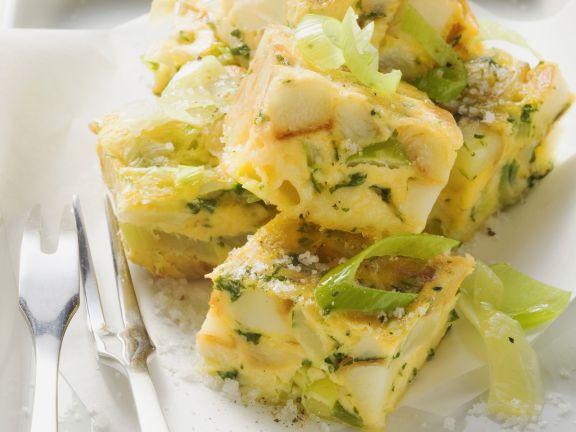 Porree-Käse-Omelett auf italienische Art