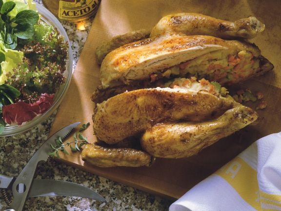Poulardenbraten mit Kartoffelfüllung