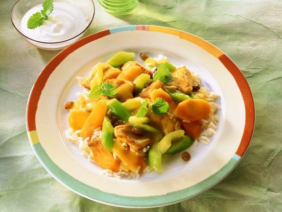 Puten-Gemüsecurry mit Reis