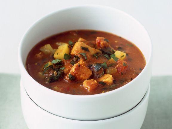 Puten-Gemüsetopf mit Bacon und Madras-Curry