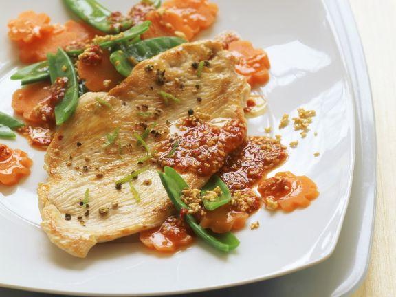 Putenbrust mit Gemüse und Chilidip