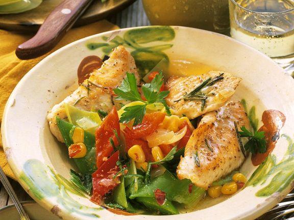 Putenschnitzel mit Gemüse