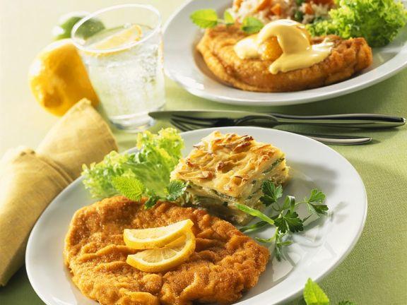 Putenschnitzel mit Lasagene und Reis