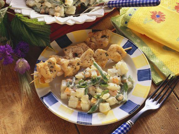 Putenspieße mit Kartoffelsalat